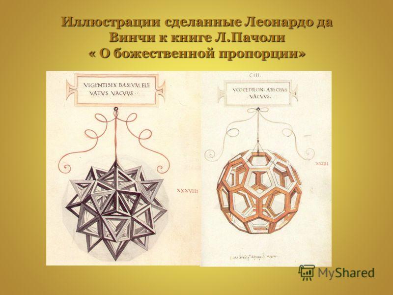 Иллюстрации сделанные Леонардо да Винчи к книге Л.Пачоли « О божественной пропорции»