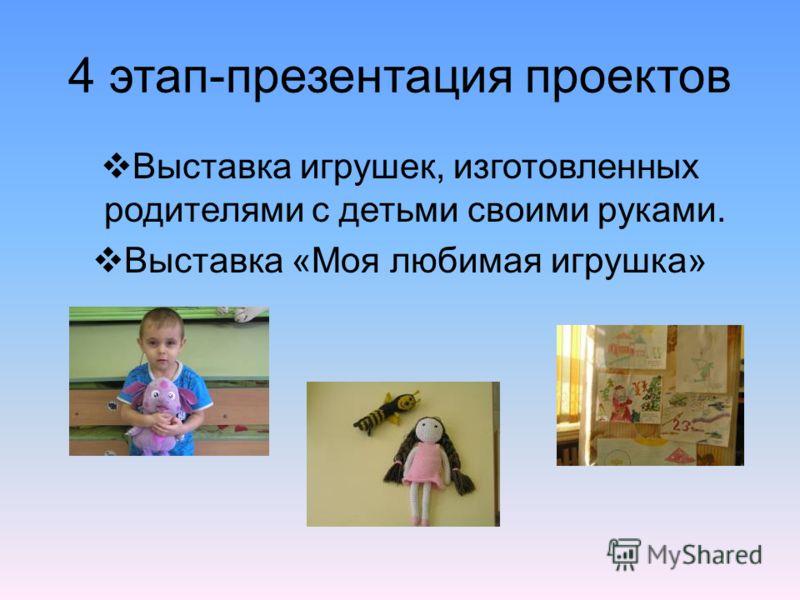 4 этап-презентация проектов Выставка игрушек, изготовленных родителями с детьми своими руками. Выставка «Моя любимая игрушка»