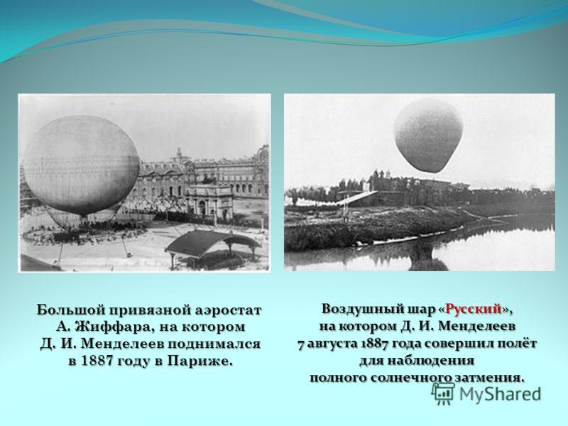 Большой привязной аэростат А. Жиффара, на котором А. Жиффара, на котором Д. И. Менделеев поднимался Д. И. Менделеев поднимался в 1887 году в Париже. в 1887 году в Париже. Воздушный шар «Русский», на котором Д. И. Менделеев 7 августа 1887 года соверши