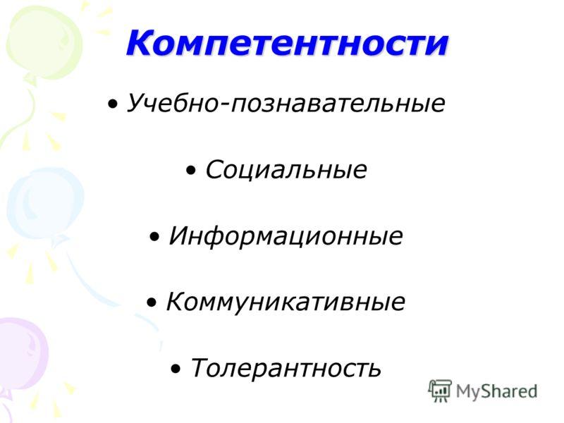 Компетентности Компетентности Учебно-познавательные Социальные Информационные Коммуникативные Толерантность