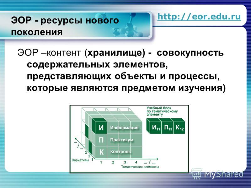 ЭОР - ресурсы нового поколения ЭОР –контент (хранилище) - совокупность содержательных элементов, представляющих объекты и процессы, которые являются предметом изучения) http://eor.edu.ru