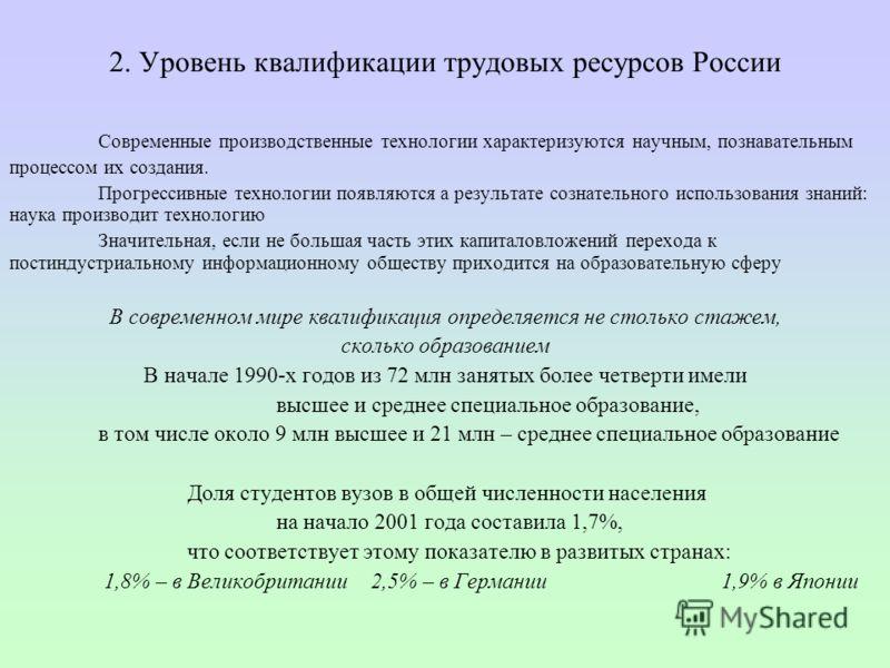2. Уровень квалификации трудовых ресурсов России Современные производственные технологии характеризуются научным, познавательным процессом их создания. Прогрессивные технологии появляются а результате сознательного использования знаний: наука произво