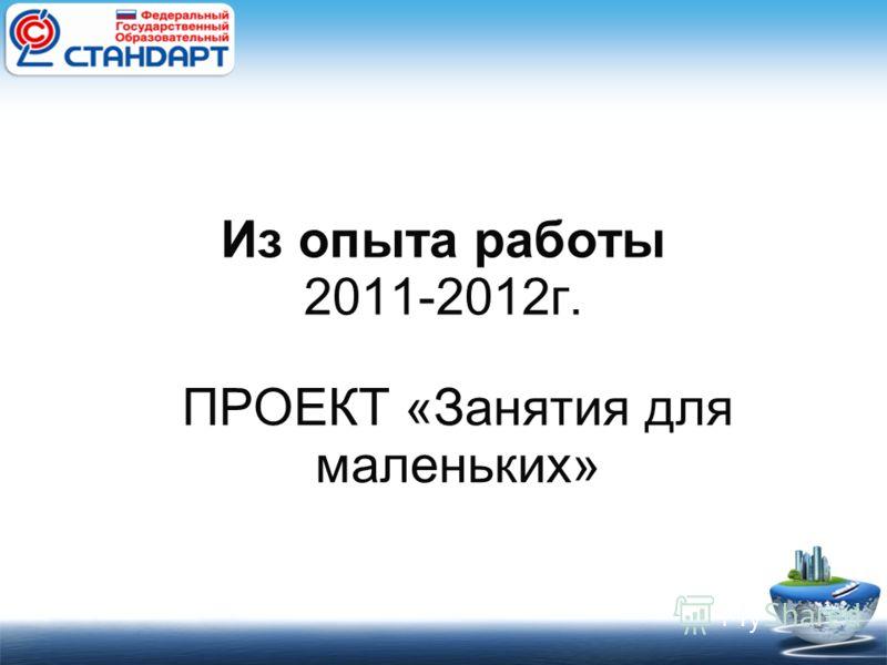 Из опыта работы 2011-2012г. ПРОЕКТ «Занятия для маленьких»
