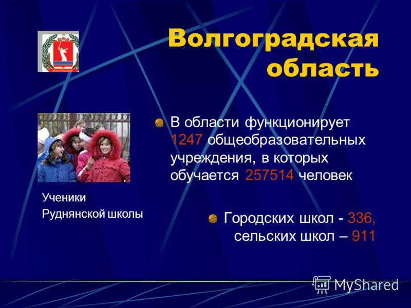 Волгоградская область В области функционирует 1247 общеобразовательных учреждения, в которых обучается 257514 человек Городских школ - 336, сельских школ – 911 Ученики Руднянской школы