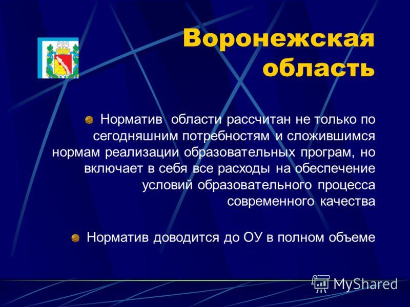 Воронежская область Норматив области рассчитан не только по сегодняшним потребностям и сложившимся нормам реализации образовательных програм, но включает в себя все расходы на обеспечение условий образовательного процесса современного качества Нормат