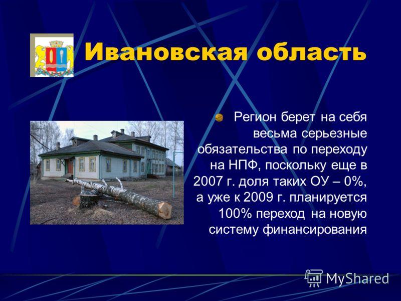 Ивановская область Регион берет на себя весьма серьезные обязательства по переходу на НПФ, поскольку еще в 2007 г. доля таких ОУ – 0%, а уже к 2009 г. планируется 100% переход на новую систему финансирования