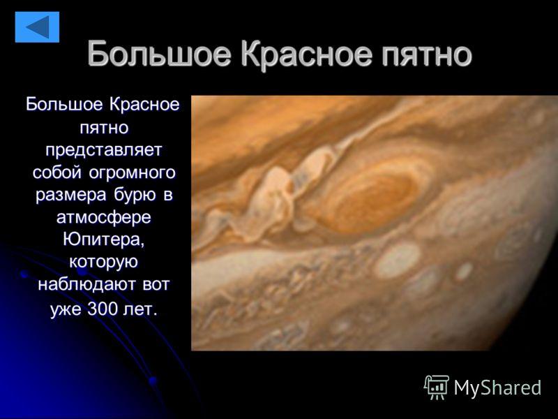 Большое Красное пятно Большое Красное пятно представляет собой огромного размера бурю в атмосфере Юпитера, которую наблюдают вот уже 300 лет. Большое Красное пятно представляет собой огромного размера бурю в атмосфере Юпитера, которую наблюдают вот у