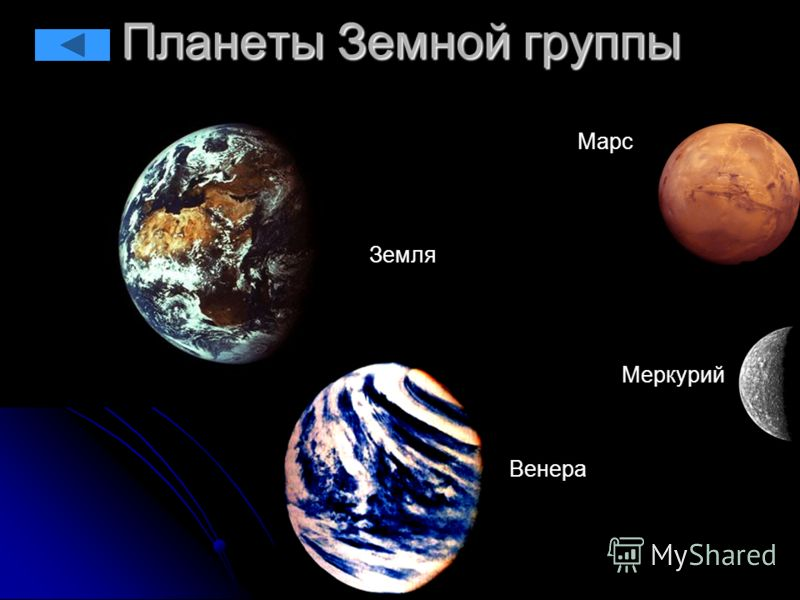 Планеты Земной группы Венера Земля Марс Меркурий