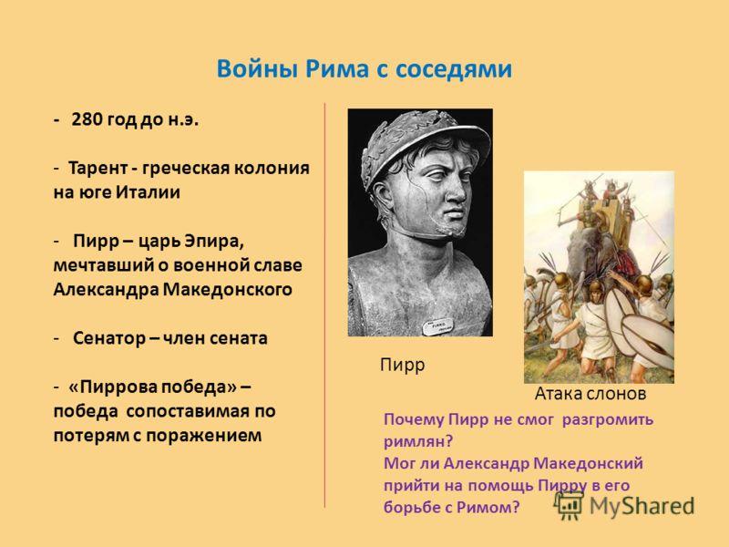 Войны Рима с соседями Пирр Атака слонов - 280 год до н.э. - Тарент - греческая колония на юге Италии - Пирр – царь Эпира, мечтавший о военной славе Ал