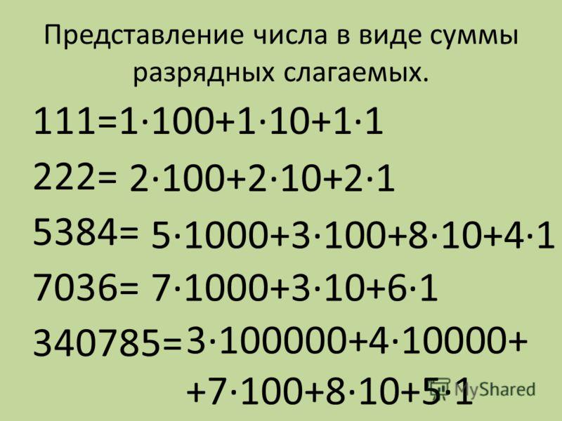 Представление числа в виде суммы разрядных слагаемых. 111=1·100+1·10+1·1 222= 5384= 7036= 340785= 2·100+2·10+2·1 5·1000+3·100+8·10+4·1 7·1000+3·10+6·1 3·100000+4·10000+ +7·100+8·10+5·1