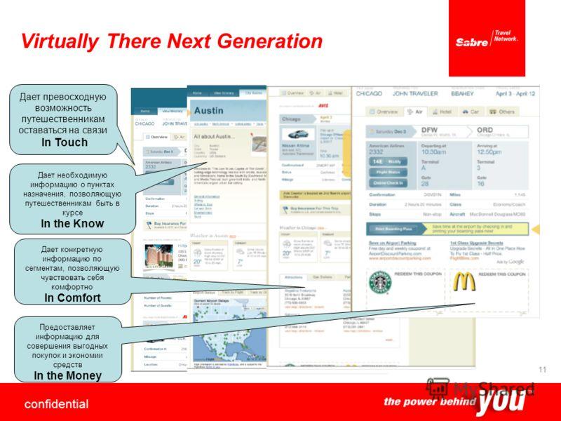 confidential 11 Virtually There Next Generation Дает конкретную информацию по сегментам, позволяющую чувствовать себя комфортно In Comfort Дает необходимую информацию о пунктах назначения, позволяющую путешественникам быть в курсе In the Know Дает пр