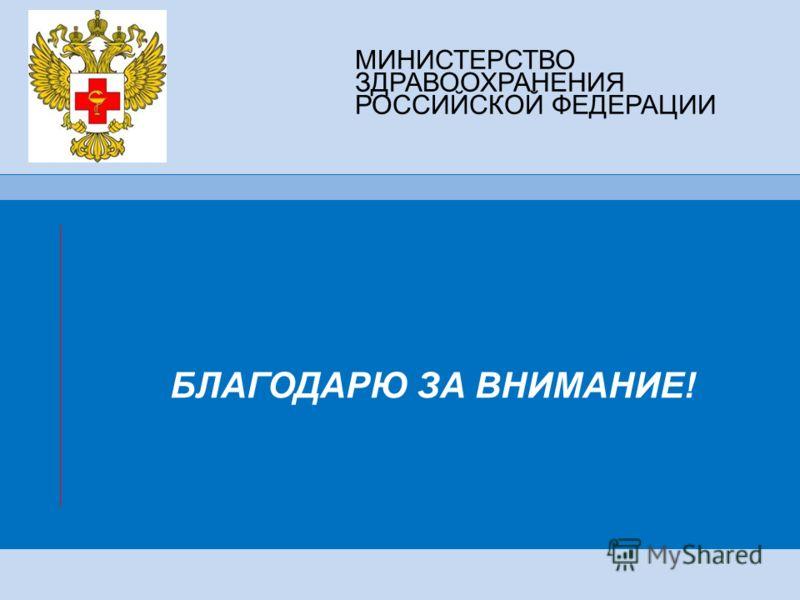 МИНИСТЕРСТВО ЗДРАВООХРАНЕНИЯ РОССИЙСКОЙ ФЕДЕРАЦИИ БЛАГОДАРЮ ЗА ВНИМАНИЕ!
