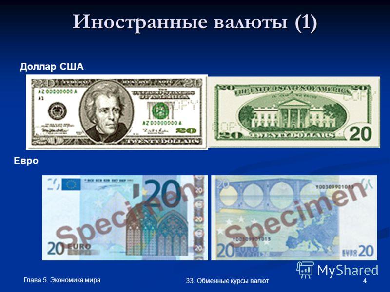 Глава 5. Экономика мира 4 33. Обменные курсы валют Иностранные валюты (1) Доллар США Евро