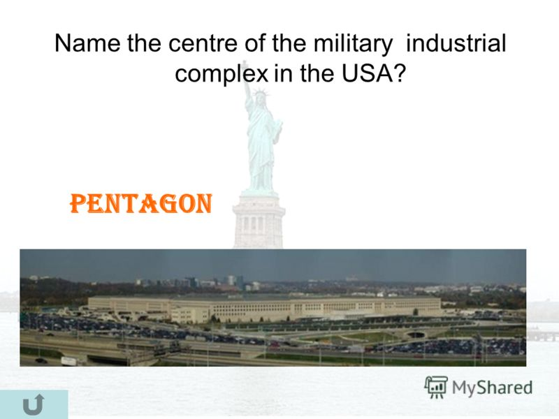 Name the centre of the military industrial complex in the USA? Pentagon