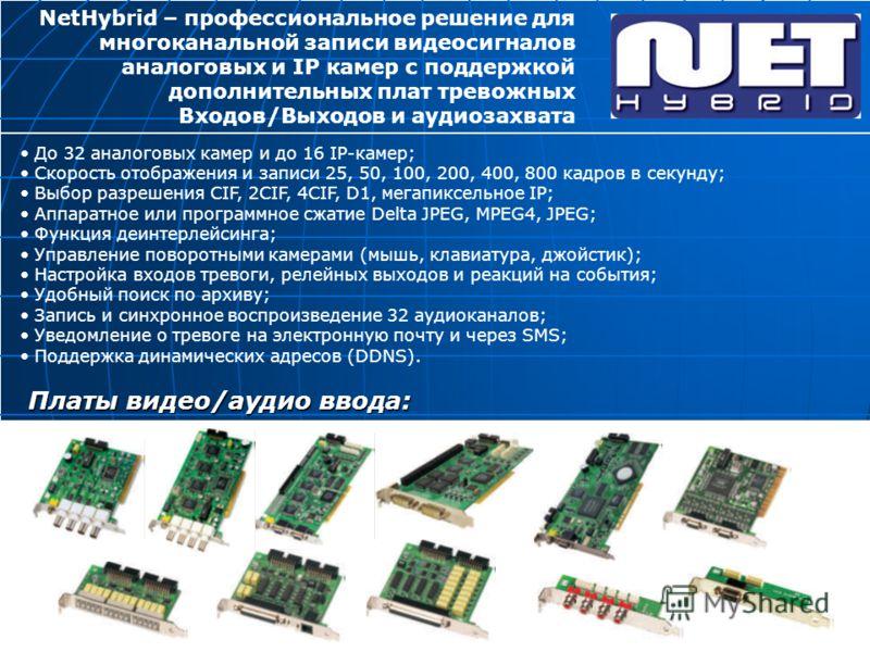 До 32 аналоговых камер и до 16 IP-камер; Скорость отображения и записи 25, 50, 100, 200, 400, 800 кадров в секунду; Выбор разрешения CIF, 2CIF, 4CIF, D1, мегапиксельное IP; Аппаратное или программное сжатие Delta JPEG, MPEG4, JPEG; Функция деинтерлей