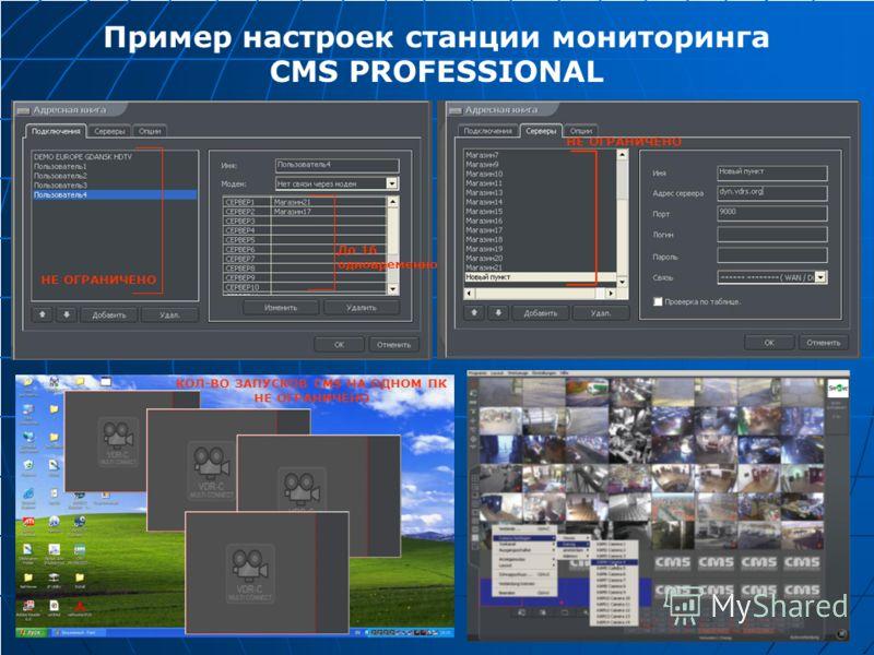 Пример настроек станции мониторинга CMS PROFESSIONAL НЕ ОГРАНИЧЕНО КОЛ-ВО ЗАПУСКОВ CMS НА ОДНОМ ПК НЕ ОГРАНИЧЕНО До 16 одновременно