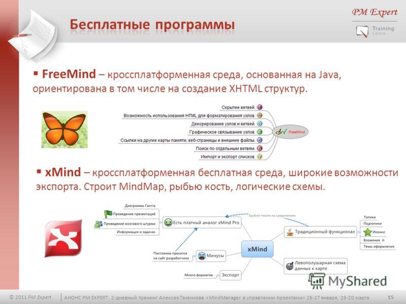 15 © 2011 PM Expert АНОНС PM EXPERT: 2-дневный тренинг Алексея Таченкова «MindManager в управлении проектами» 26-27 января, 29-20 марта FreeMind – кроссплатформенная среда, основанная на Java, ориентирована в том числе на создание XHTML структур. xMi