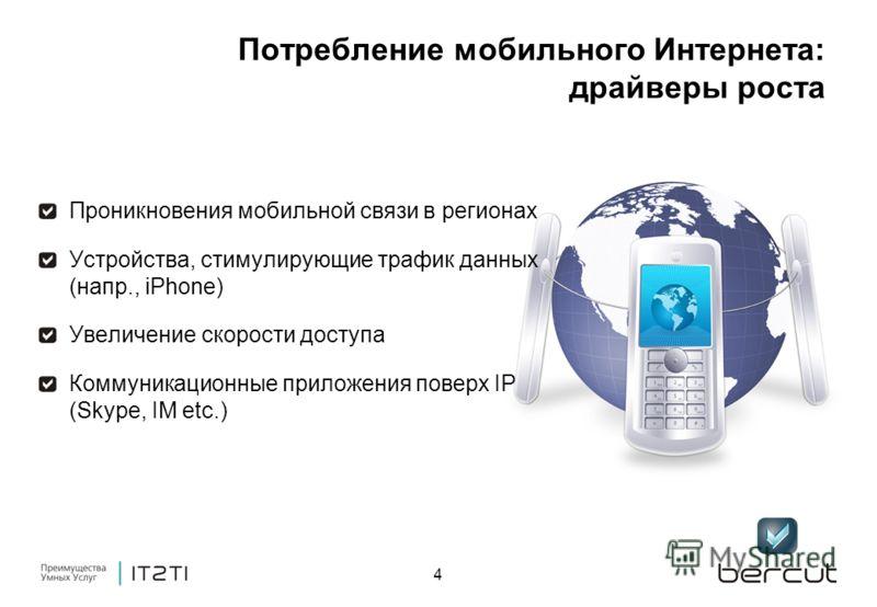 4 Потребление мобильного Интернета: драйверы роста Проникновения мобильной связи в регионах Устройства, стимулирующие трафик данных (напр., iPhone) Увеличение скорости доступа Коммуникационные приложения поверх IP (Skype, IM etc.)