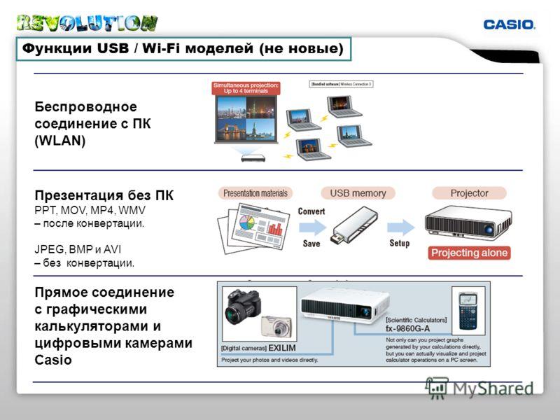Функции USB / Wi-Fi моделей (не новые) Беспроводное соединение с ПК (WLAN) Презентация без ПК PPT, MOV, MP4, WMV – после конвертации. JPEG, BMP и AVI – без конвертации. Прямое соединение с графическими калькуляторами и цифровыми камерами Casio