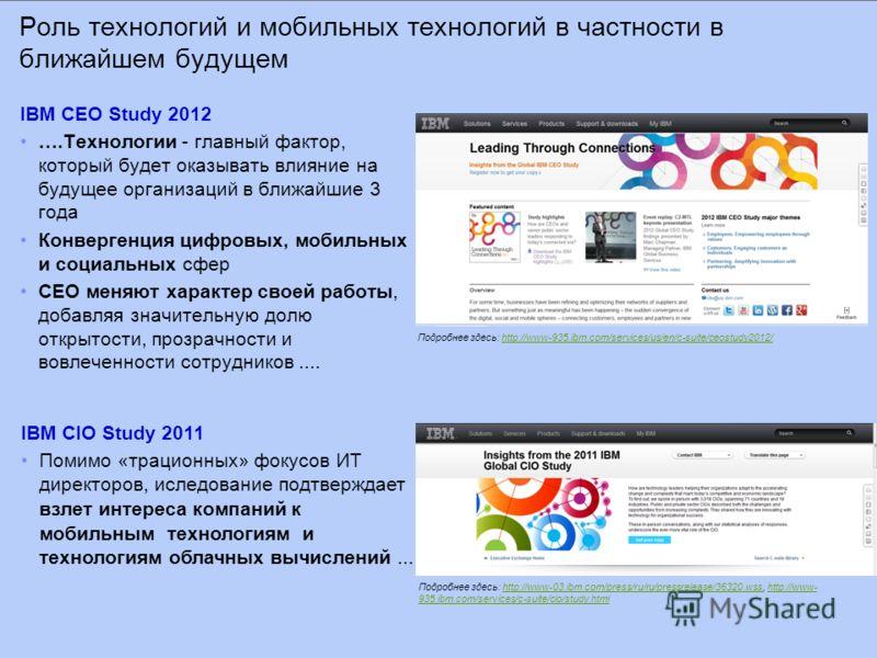 Роль технологий и мобильных технологий в частности в ближайшем будущем IBM CEO Study 2012 ….Технологии - главный фактор, который будет оказывать влияние на будущее организаций в ближайшие 3 года Конвергенция цифровых, мобильных и социальных сфер CEO