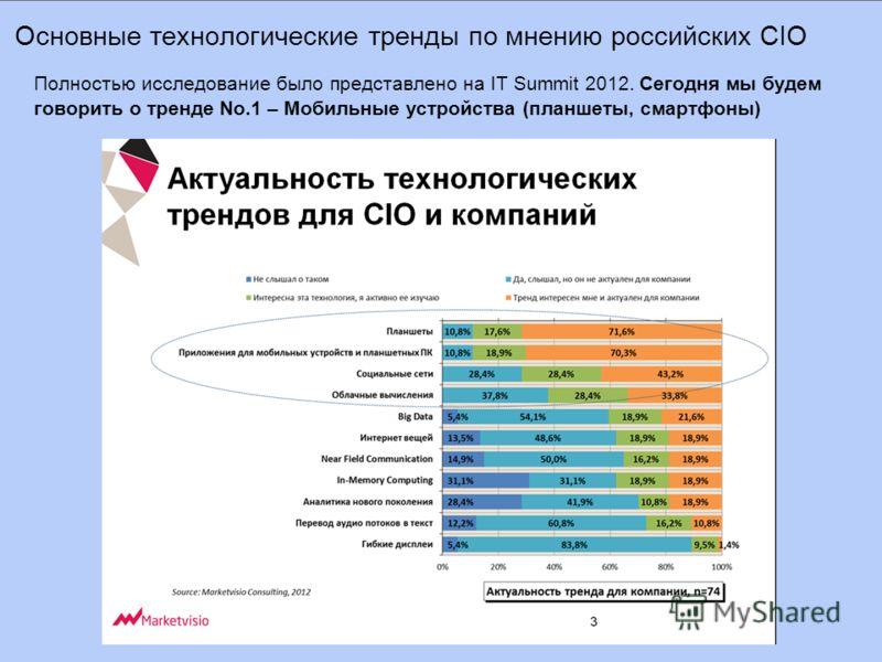 Основные технологические тренды по мнению российских CIO Полностью исследование было представлено на IT Summit 2012. Сегодня мы будем говорить о тренде No.1 – Мобильные устройства (планшеты, смартфоны)