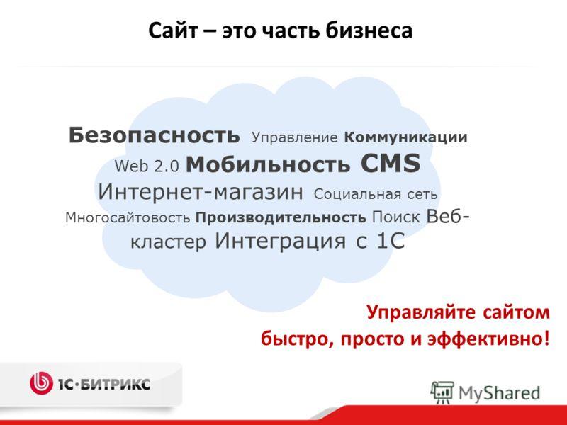 Сайт – это часть бизнеса Безопасность Управление Коммуникации Web 2.0 Мобильность CMS Интернет-магазин Социальная сеть Многосайтовость Производительность Поиск Веб- кластер Интеграция с 1С Управляйте сайтом быстро, просто и эффективно!