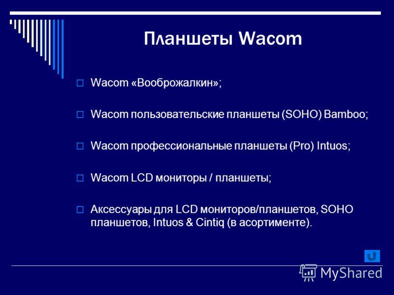 Планшеты Wacom Wacom «Вооброжалкин»; Wacom пользовательские планшеты (SOHO) Bamboo; Wacom профессиональные планшеты (Pro) Intuos; Wacom LCD мониторы / планшеты; Аксессуары для LCD мониторов/планшетов, SOHO планшетов, Intuos & Cintiq (в асортименте).