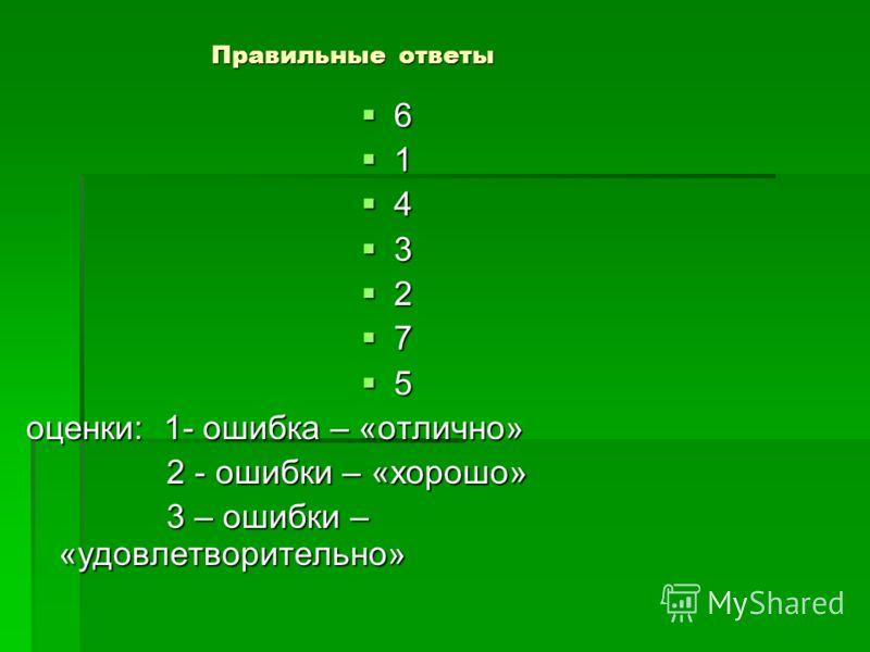 Правильные ответы 6 1 4 3 2 7 5 оценки: 1- ошибка – «отлично» 2 - ошибки – «хорошо» 2 - ошибки – «хорошо» 3 – ошибки – «удовлетворительно» 3 – ошибки – «удовлетворительно»