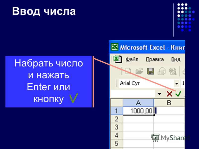 Редактирование данных Нажать F2 Два раза щёлкнуть левой кнопкой мыши Щёлкнуть левой кнопкой мыши