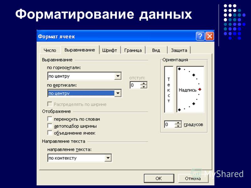 Форматирование данных Выделить ячейки и включить режим меню «Формат»-«Ячейки»
