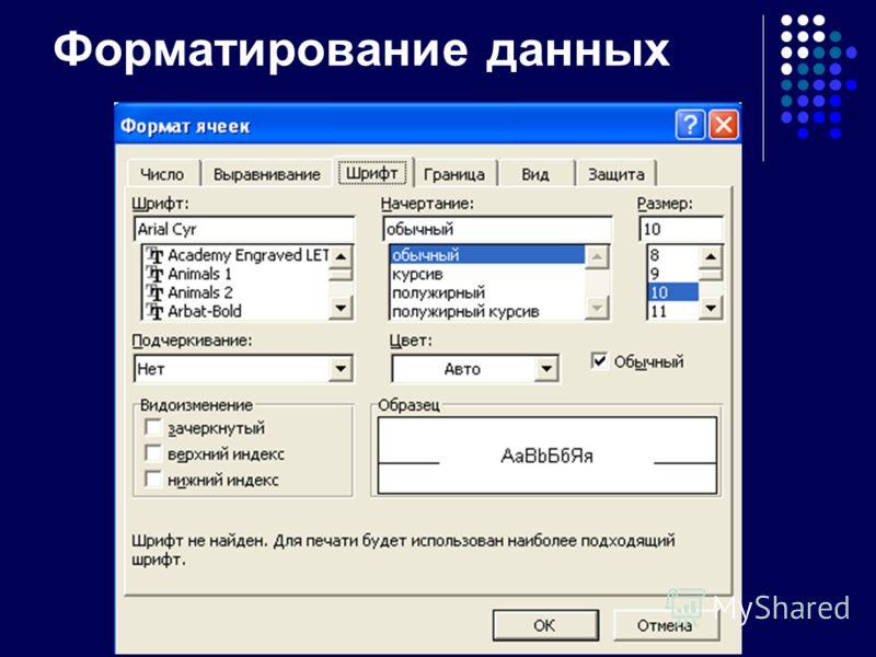 Форматирование данных
