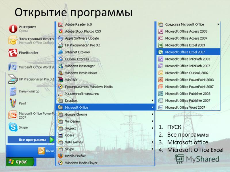 Открытие программы 1.ПУСК 2.Все программы 3.Microsoft office 4.Microsoft Office Excel