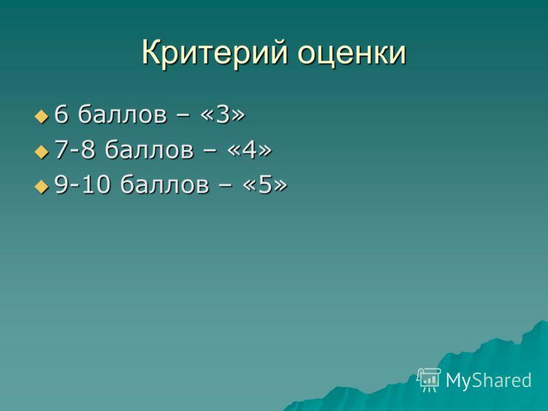 Критерий оценки 6 баллов – «3» 6 баллов – «3» 7-8 баллов – «4» 7-8 баллов – «4» 9-10 баллов – «5» 9-10 баллов – «5»