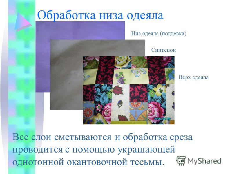 Обработка низа одеяла Верх одеяла Синтепон Низ одеяла (поддевка) Все слои сметываются и обработка среза проводится с помощью украшающей однотонной окантовочной тесьмы.