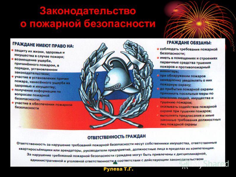 Законодательство о пожарной безопасности Рулева Т.Г.
