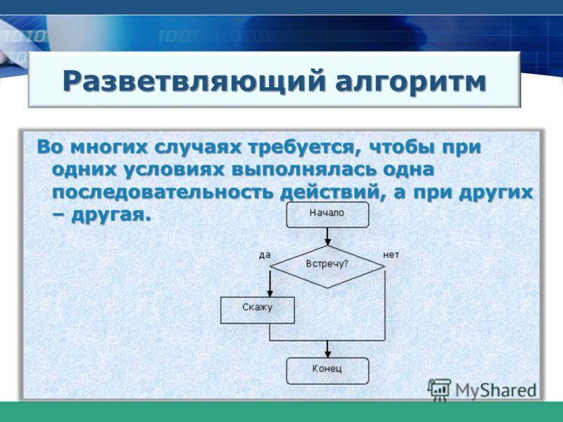 Разветвляющий алгоритм Во многих случаях требуется, чтобы при одних условиях выполнялась одна последовательность действий, а при других – другая.