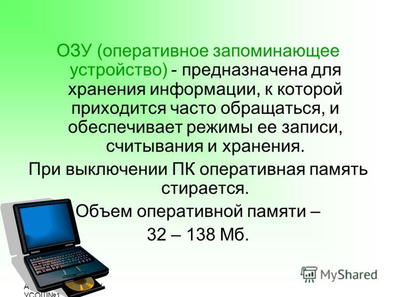 Подготовила: Ахмадиева Л.Л., МОУ УСОШ1 ОЗУ (оперативное запоминающее устройство) - предназначена для хранения информации, к которой приходится часто обращаться, и обеспечивает режимы ее записи, считывания и хранения. При выключении ПК оперативная пам