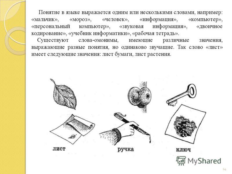 14 Понятие в языке выражается одним или несколькими словами, например: «мальчик», «мороз», «человек», «информация», «компьютер», «персональный компьютер», «звуковая информация», «двоичное кодирование», «учебник информатики», «рабочая тетрадь». Сущест