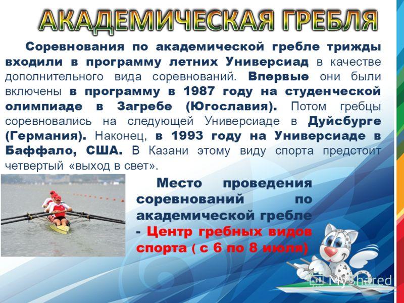 Соревнования по академической гребле трижды входили в программу летних Универсиад в качестве дополнительного вида соревнований. Впервые они были включены в программу в 1987 году на студенческой олимпиаде в Загребе (Югославия). Потом гребцы соревновал