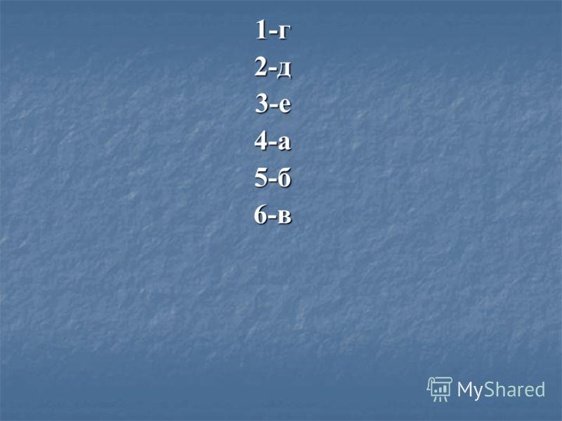 1-г2-д3-е4-а5-б6-в