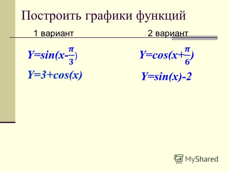 Построить графики функций 1 вариант 2 вариант Y=3+cos(x) Y=sin(x)-2
