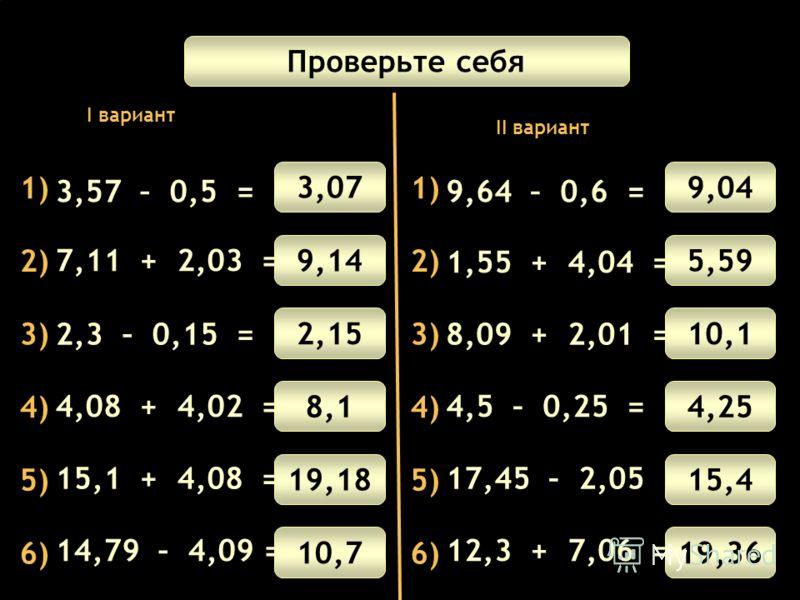 Математический диктант 1) 3) 4) 5) 6) 2) 3,57 – 0,5 = 2,3 – 0,15 = 4,08 + 4,02 = 15,1 + 4,08 = 7,11 + 2,03 = 14,79 – 4,09 = Проверьте себя 3,07 9,14 2,15 8,1 19,18 10,7 1) 3) 4) 5) 6) 2) 9,64 – 0,6 = 8,09 + 2,01 = 4,5 – 0,25 = 17,45 – 2,05 = 1,55 + 4