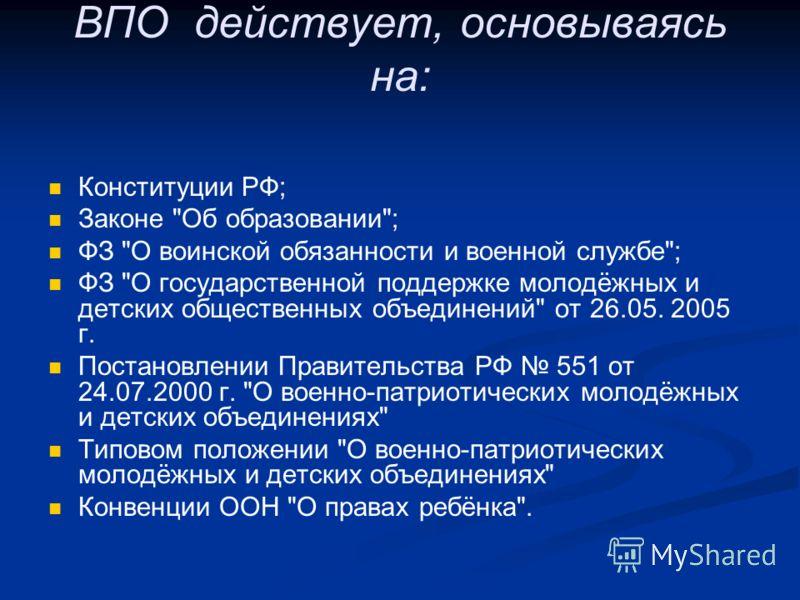ВПО действует, основываясь на: Конституции РФ; Законе