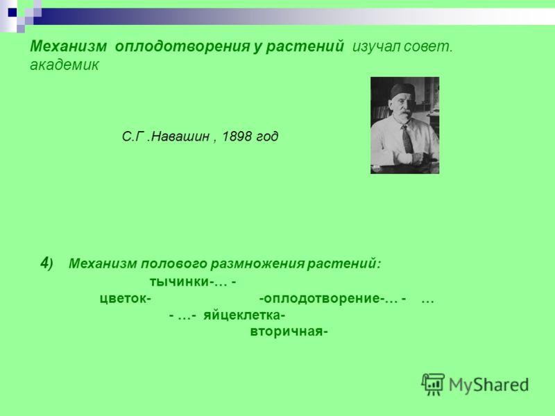 Механизм оплодотворения у растений изучал совет. академик 4 ) Механизм полового размножения растений: тычинки-… - цветок- -оплодотворение-… - … - …- яйцеклетка- вторичная- С.Г.Навашин, 1898 год