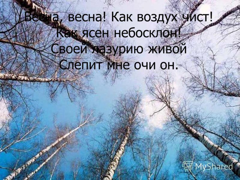 Весна, весна! Как воздух чист! Как ясен небосклон! Своей лазурию живой Слепит мне очи он.