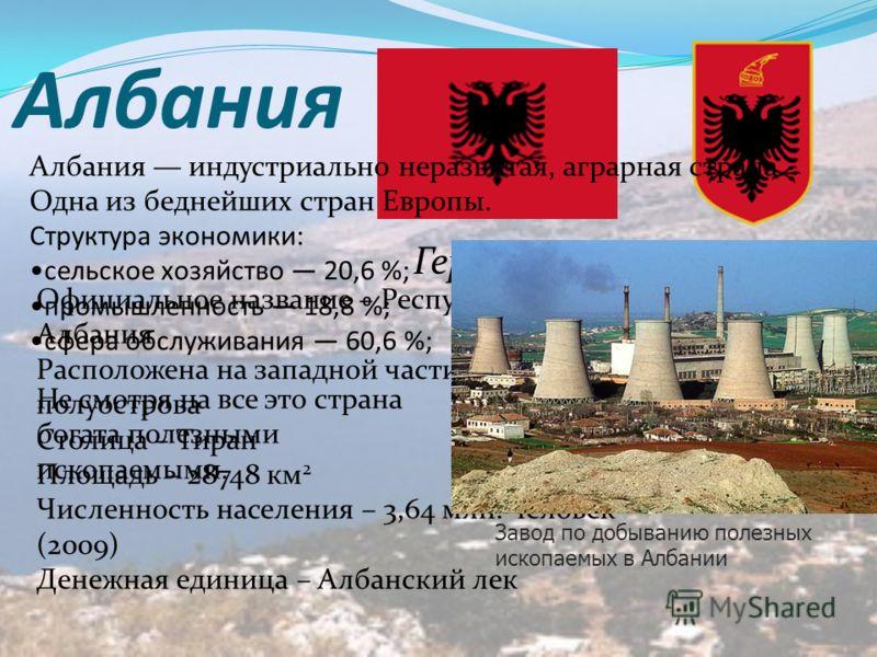 Албания Герб и флаг Албании Официальное название – Республика Албания Расположена на западной части Балканского полуострова Столица – Тиран Площадь – 28748 км 2 Численность населения – 3,64 млн. человек (2009) Денежная единица – Албанский лек Албания