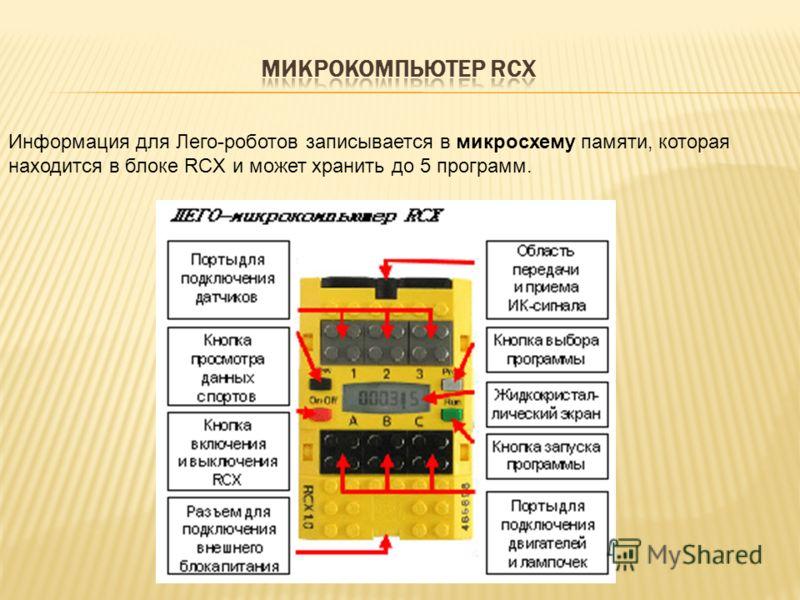 Информация для Лего-роботов записывается в микросхему памяти, которая находится в блоке RCX и может хранить до 5 программ.