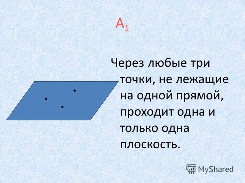 А1А1 Через любые три точки, не лежащие на одной прямой, проходит одна и только одна плоскость.