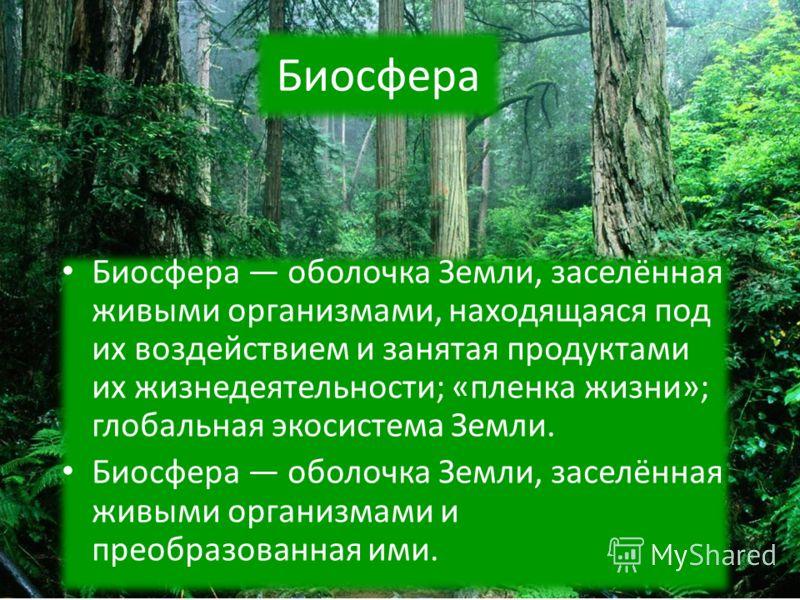 Биосфера Биосфера оболочка Земли, заселённая живыми организмами, находящаяся под их воздействием и занятая продуктами их жизнедеятельности; «пленка жизни»; глобальная экосистема Земли. Биосфера оболочка Земли, заселённая живыми организмами и преобраз