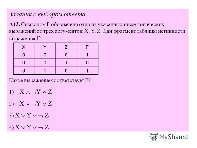 Задания с выбором ответа А13. Символом F обозначено одно из указанных ниже логических выражений от трех аргументов: X, Y, Z. Дан фрагмент таблицы истинности выражения F: Какое выражение соответствует F? 1) X Y Z 2) X Y Z 3) X Y Z 4) X Y Z XYZF 0001 0